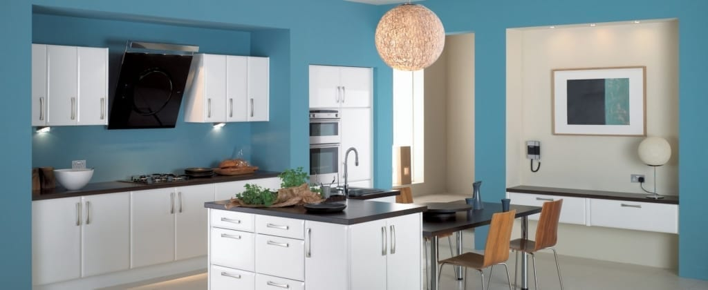Modern residential kitchen painted blue