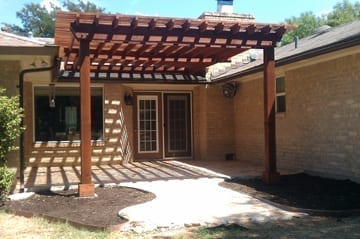 Spray stained pergola job