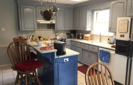 Kitchen Cabinet Painting with blue island