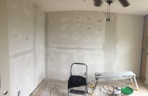 room with new drywall