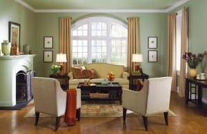 green living room paint color