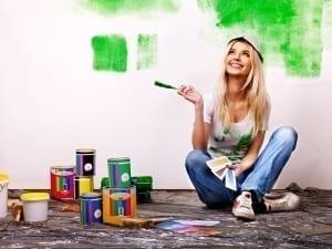 painting wall at home.