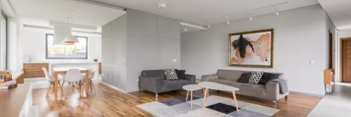 interior painting with gray living room