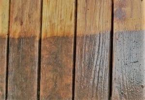 powerwash fence before staining