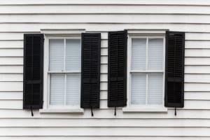 Black window shutters