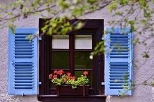 Bright blue window shutters