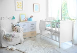 A nursery painted white