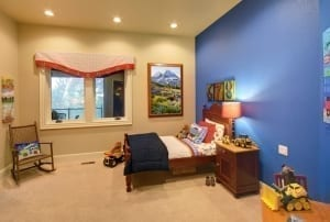 Blue accent wall in kids room