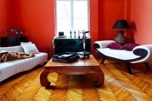 living room with red paint colors
