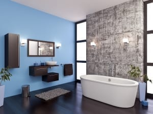 Modern bathroom with blue accent wall