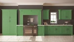 Green farmhouse kitchen cabines