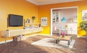 orange apartment living room