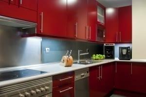 Red modern kitchen cabinets