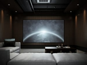 media room with dark colors