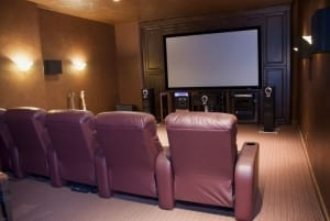 media room with flat painted walls