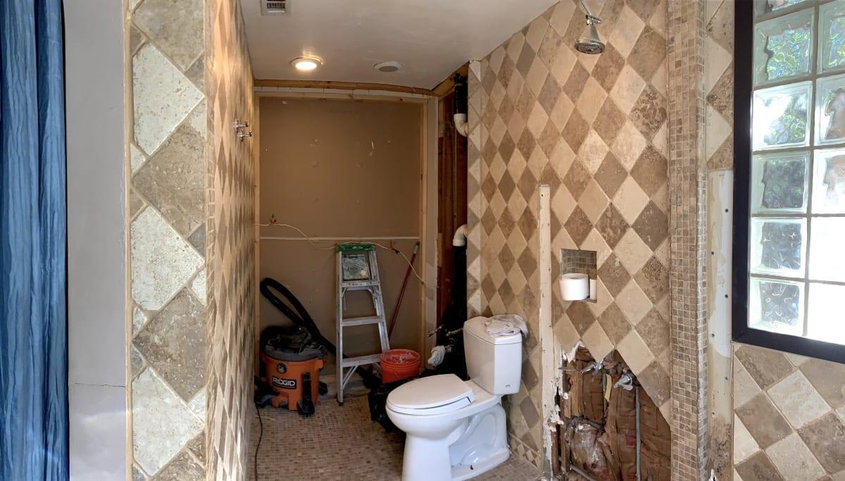 Bathroom prepared for remodel