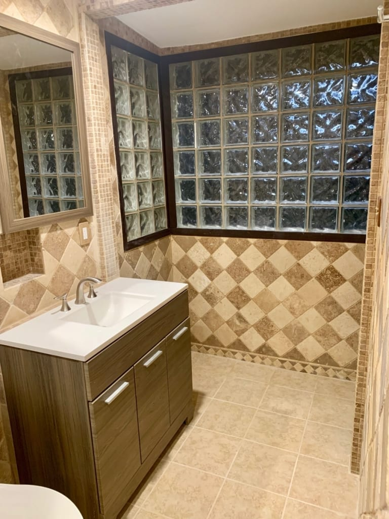 Remodeled bathroom from reverse angle