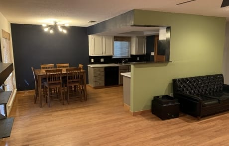 green living room with blue dining room