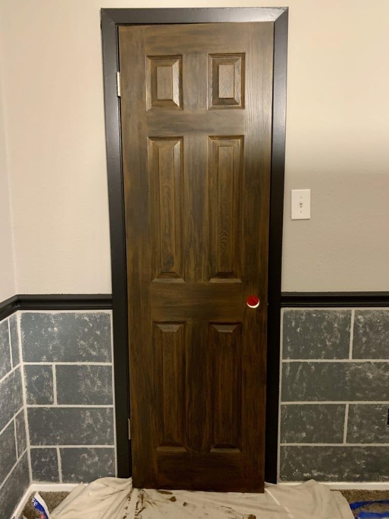 Hogwarts faux painted wood door