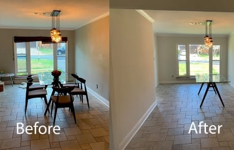 dining room wall retexture - before and after