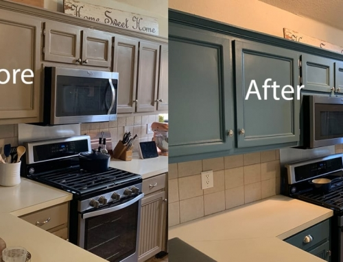 Kitchen Cabinet Repaint – From Tan To Blue