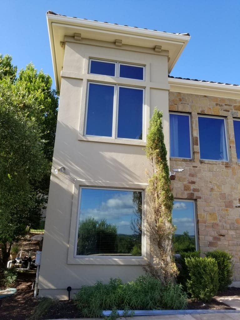 large stucco house tower