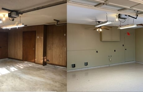 paint garage and epoxy garage floor before & after