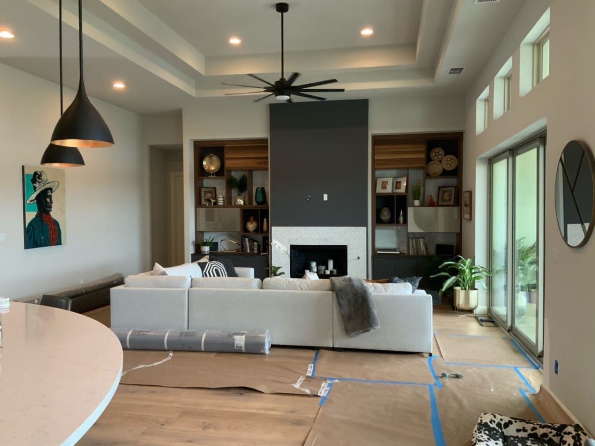 modern living room with coffered ceiling