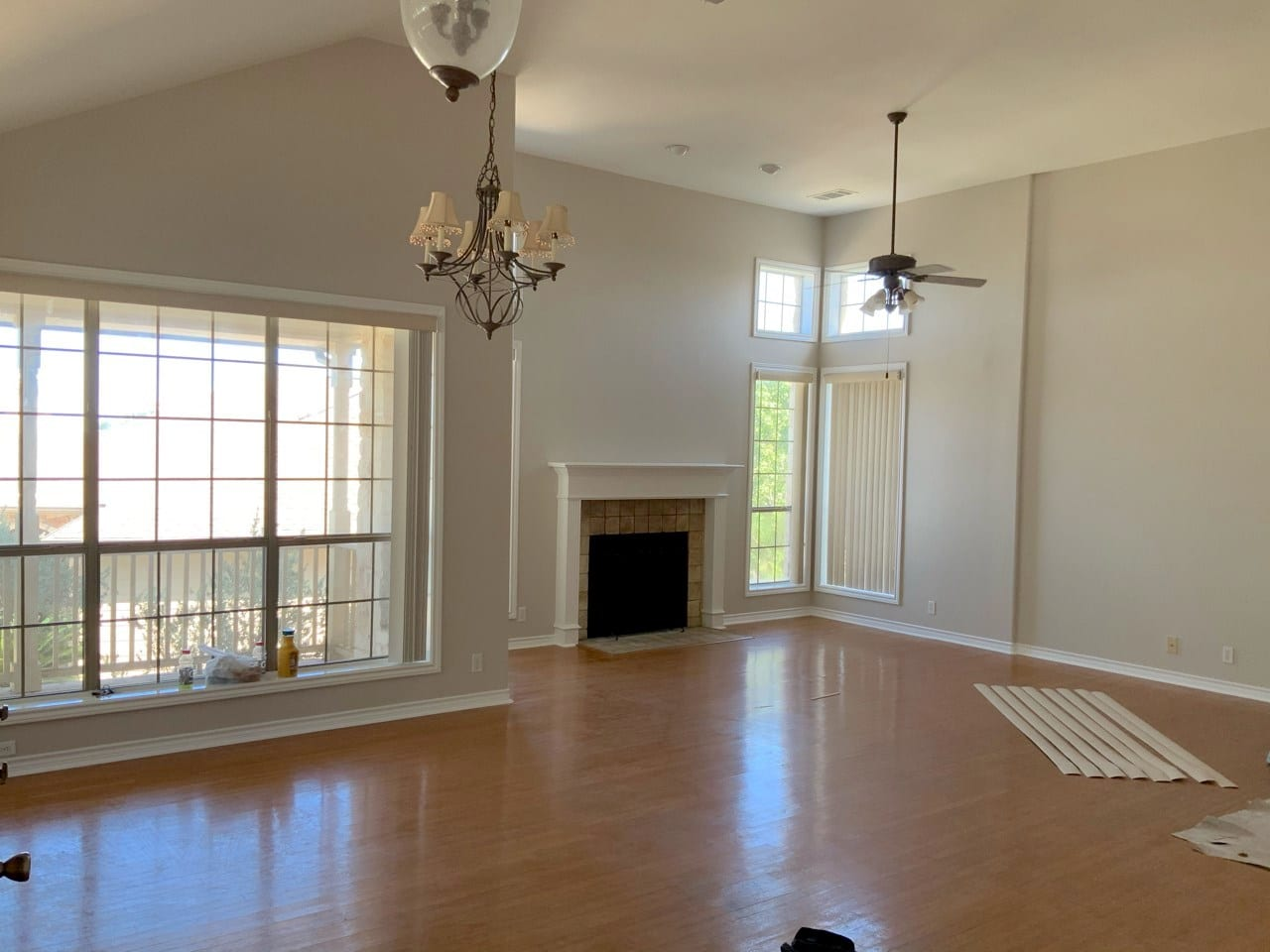 painted living room interior with wood floors