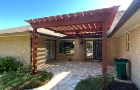 stained wood pergola