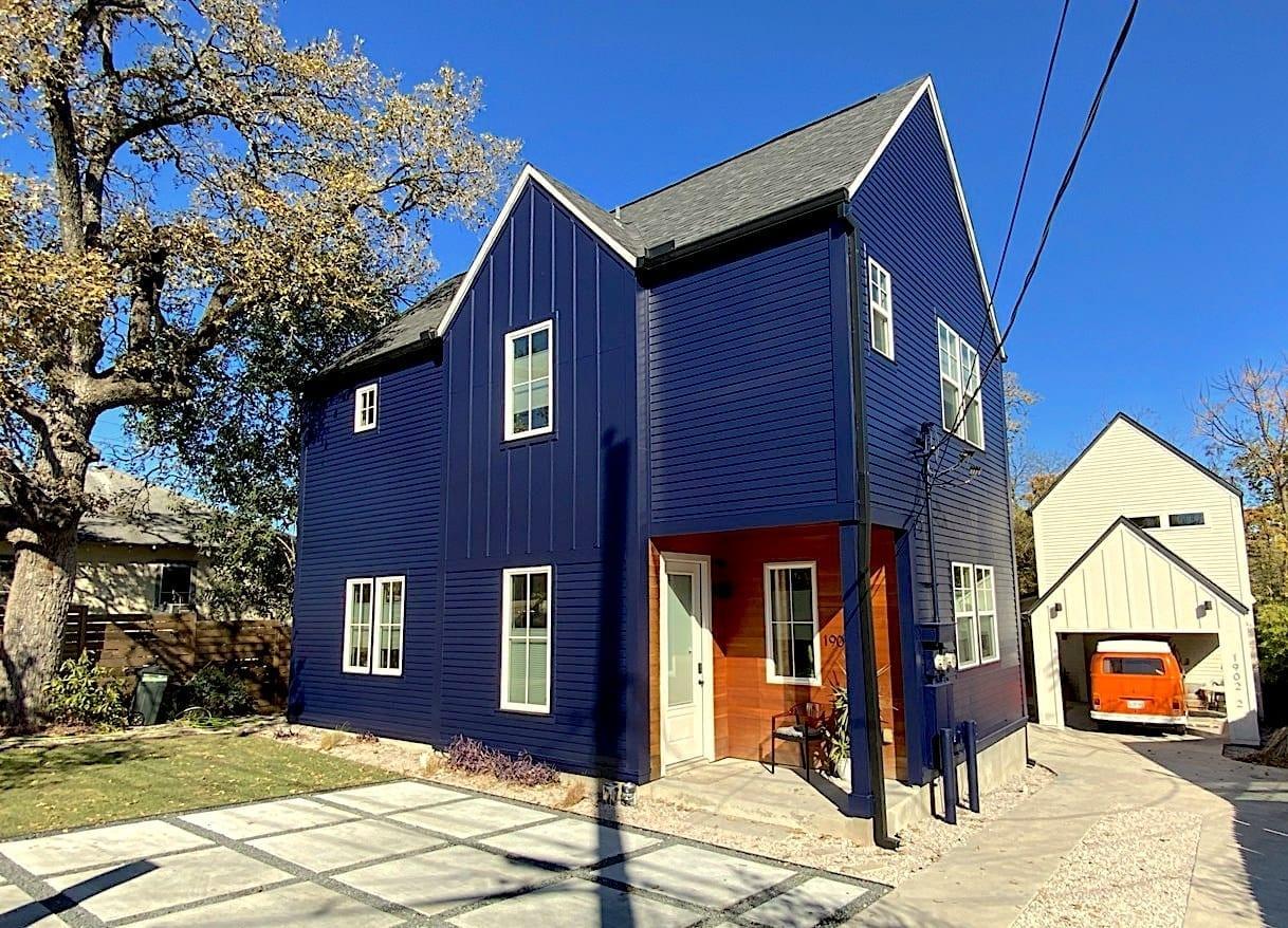 blue house - front corner
