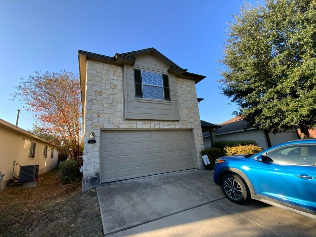 front of house and garage door