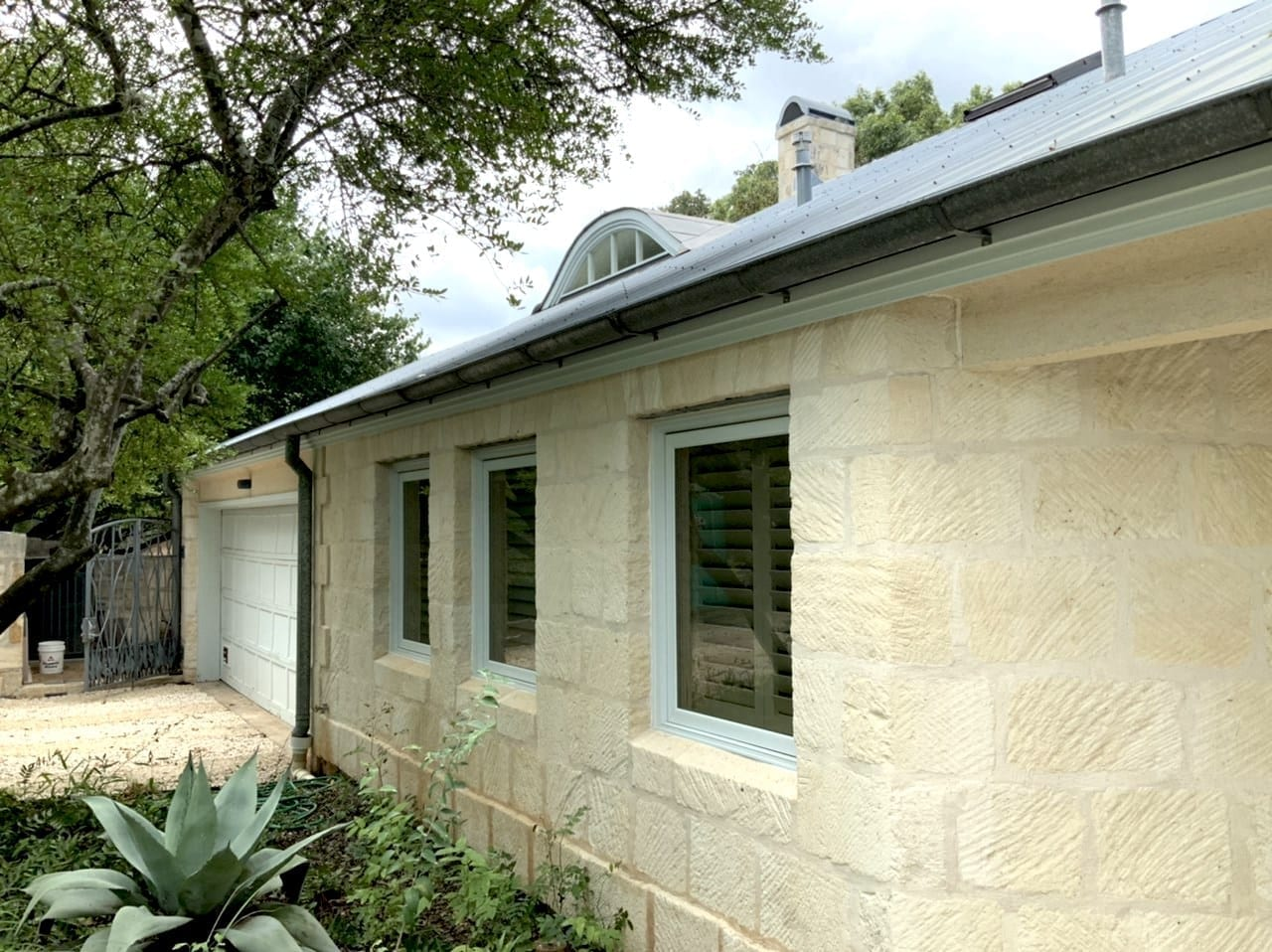 limestone house after power wash