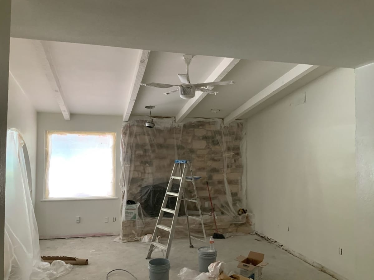 popcorn removal from living room