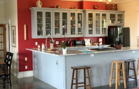 red kitchen with gray cabinets 2