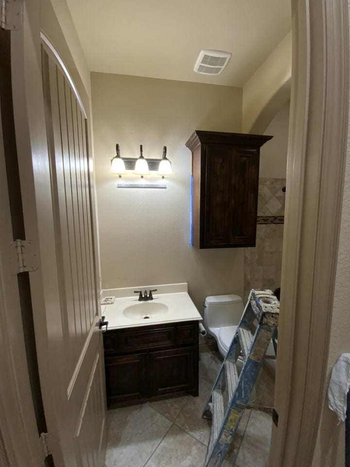 tan guest bathroom